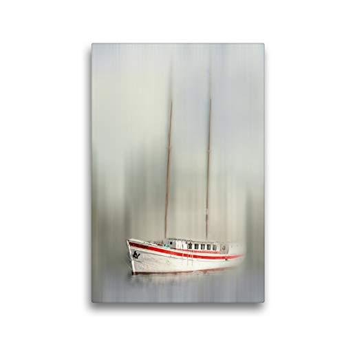 CALVENDO Premium Textil-Leinwand 30 x 45 cm Hoch-Format Segeljacht - abstrakt, Leinwanddruck von Carmen Steiner